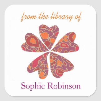 Colorful flower personalized bookplates square sticker