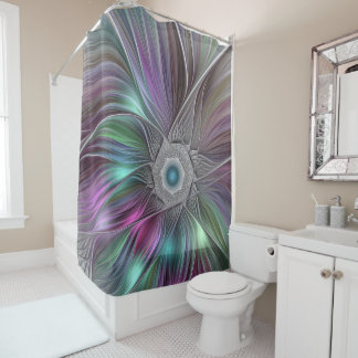 Colorful Flower Power Abstract Modern Fractal Art Shower Curtain