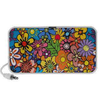 Colorful flower power travelling speaker