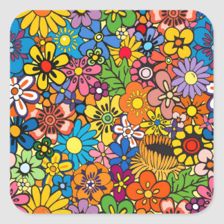 Colorful flower power square sticker