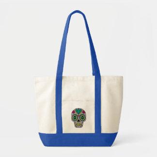 Colorful Flower Sugar Skull Impulse Tote Bag