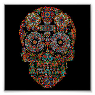 Colorful Flower Sugar Skull Poster