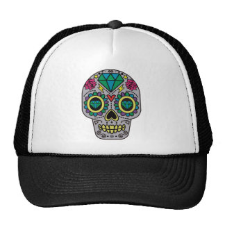 Colorful Flower Sugar Skull Trucker Hat