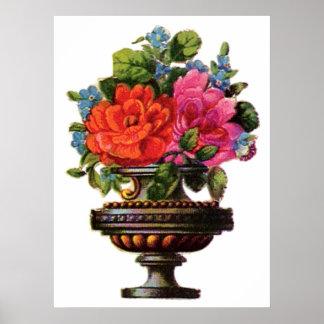 Colorful Flower Vase Poster