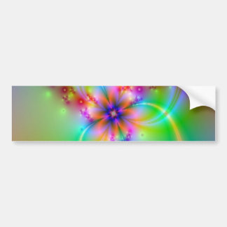 Colorful Flower With Ribbons Bumper Sticker