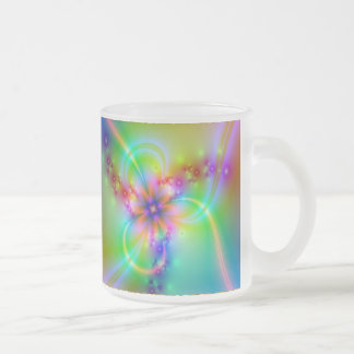 Colorful Flower With Ribbons Frosted Glass Mug