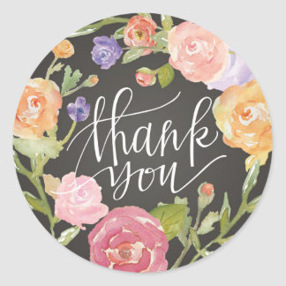 Colorful Flower Wreath Thank You Sticker