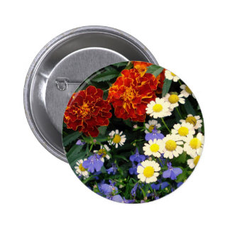 Colorful Flowerbed Pinback Buttons