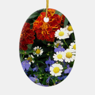 Colorful Flowerbed Ceramic Oval Decoration