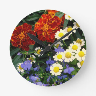 Colorful Flowerbed Round Wallclock