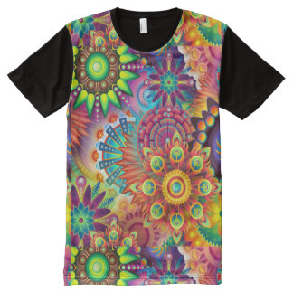 Colorful Flowers All-Over Print T-Shirt