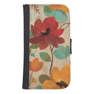 Colorful Flowers and Buds Samsung S4 Wallet Case