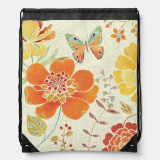 Colorful Flowers and Butterflies Drawstring Bag