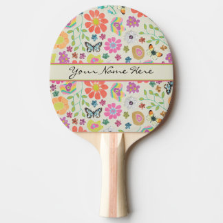 Colorful Flowers and Butterflies Ping Pong Paddle