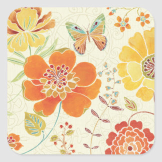 Colorful Flowers and Butterflies Square Sticker