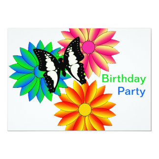 Colorful Flowers and Butterfly Birthday Party 13 Cm X 18 Cm Invitation Card