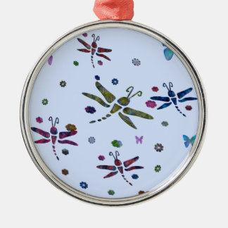 colorful flowers and dragonflies christmas ornament