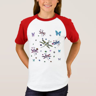 colorful flowers and dragonflies T-Shirt
