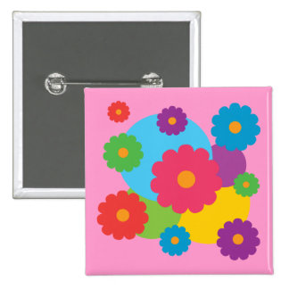 Colorful Flowers 15 Cm Square Badge