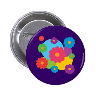 Colorful Flowers 6 Cm Round Badge