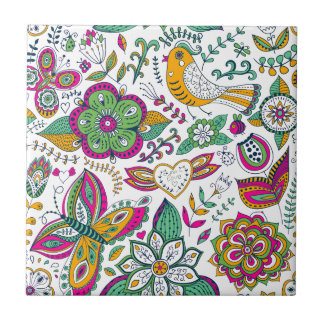 Colorful flowers birds and butterflies pattern small square tile