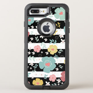 Colorful Flowers & Black & White Stripes Pattern OtterBox Defender iPhone 7 Plus Case