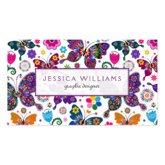 Colorful Flowers & Butterflies Pattern Pack Of Standard Business Cards