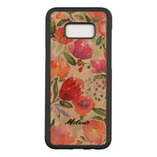 Colorful Flowers Collage Monogram Carved Samsung Galaxy S8+ Case
