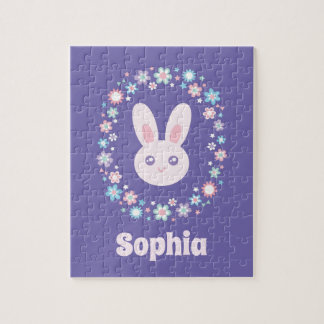 Colorful Flowers Cute Bunny Rabbit Lavender Blue Jigsaw Puzzle