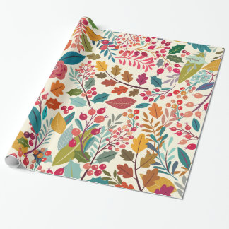 Colorful Flowers & Forest Autumn Leaves Pattern Wrapping Paper