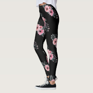 Colorful Flowers Girly | Pink Watercolor Floral Leggings