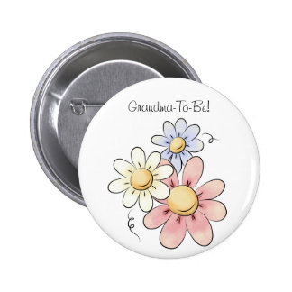 Colorful Flowers Grandmother Button