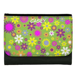 Colorful Flowers Green Wallet