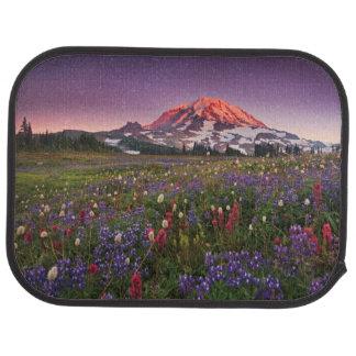 Colorful Flowers in Rainier National Park Floor Mat