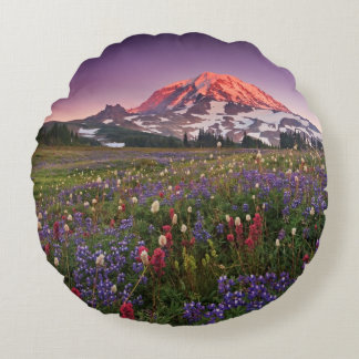 Colorful Flowers in Rainier National Park Round Cushion