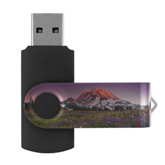 Colorful Flowers in Rainier National Park Swivel USB 2.0 Flash Drive
