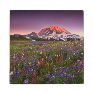 Colorful Flowers in Rainier National Park Wood Coaster