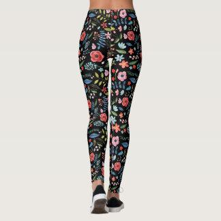 Colorful Flowers & Leafs Botanical Pattern Leggings