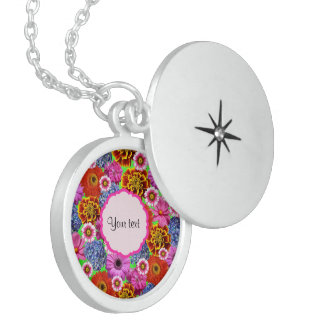 Colorful Flowers Locket Necklace
