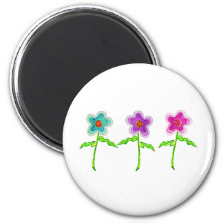 Colorful Flowers 6 Cm Round Magnet