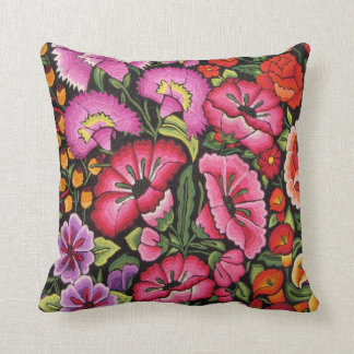 colorful flowers, mexican style throw pillow