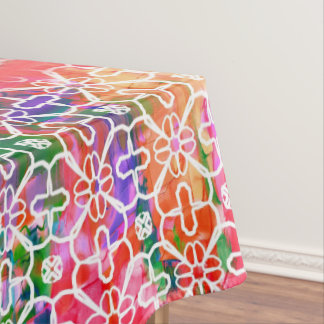 Colorful Flowers Mosaic - Red Wedding Roses, Tablecloth