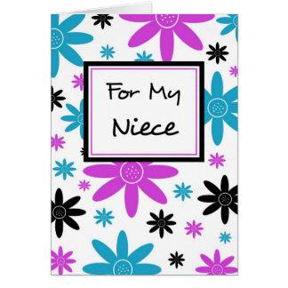 Colorful Flowers Niece Flower Girl Inivtation Card