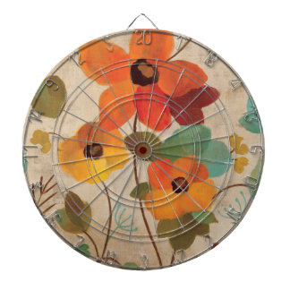 Colorful Flowers on an Off White Background Dartboard