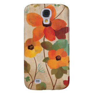 Colorful Flowers on an Off White Background Galaxy S4 Case