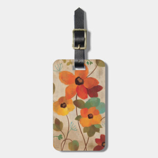 Colorful Flowers on an Off White Background Luggage Tag