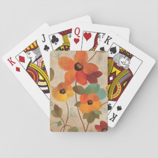 Colorful Flowers on an Off White Background Playing Cards