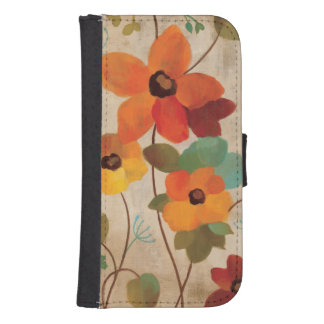 Colorful Flowers on an Off White Background Samsung S4 Wallet Case