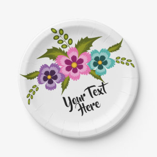 Colorful Flowers Paper Plates