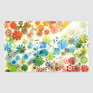 Colorful flowers pattern background rectangular sticker